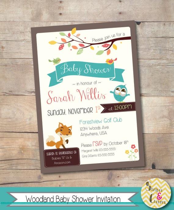 woodland baby shower invitation woodland themed invite woodland animal