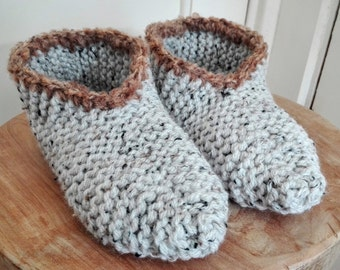 Cozy knitted slipper socks, made of tweed wool, EU sizes 35-43 and US sizes (women) 5-10.5