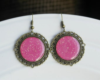 Fuchsia Earrings, Hot Pink Earrings, Glitter Earrings, Dangle Earrings, Round Earrings, Bronze Vintage, Gifts Ideas, Large Earrings Boho