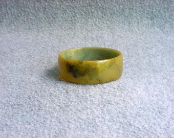 "Bakelite Bangle Bracelet Split Pea Green With Blue Moon Marbled Swirl 1"" Catalin Cuff Vintage Chunky Costume Jewelry Art Deco"
