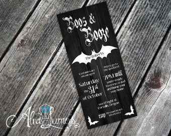 Boos and booze Halloween Party Invitation - halloween invitation - halloween party - halloween invite - costume party - adult halloween