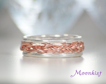 Copper Braid Wedding Band with Rails in Sterling - Silver and Copper Band - Two Tone Unique Wedding Ring - Copper Braided Band