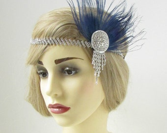 Navy Blue & Silver Feather Headdress Headband 1920s Flapper Great Gatsby Vtg 243