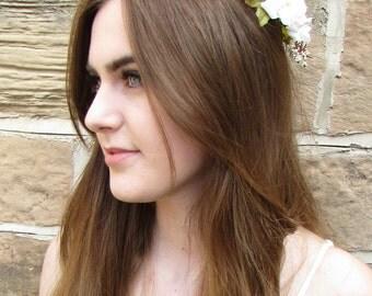White Rose & Daisy Flower Garland Hair Crown Vintage Headband Headdress Leaf U72