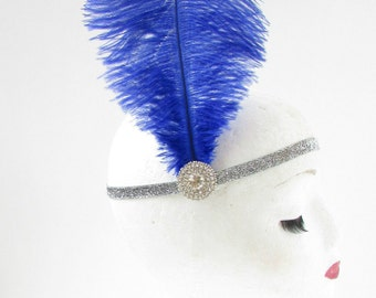 Royal Blue Ostrich Feather Headband Flapper 1920s Great Gatsby Vintage Headpiece Silver Z01