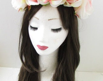 Large Blush Pink Rose Flower Headband Hair Crown Summer Festival Garland X-95