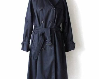BURBERRYS  Dark Blue Women Raincoat  Classic Trench Coat Large Size