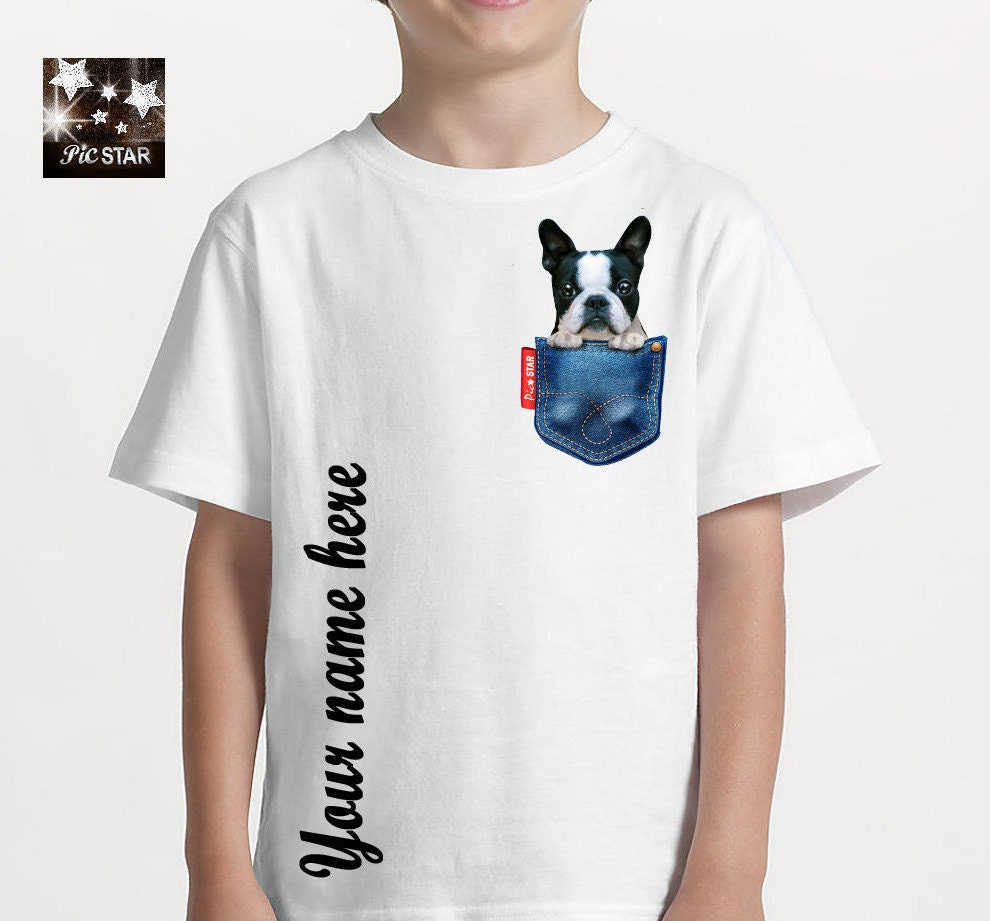 Pet French Bulldog In A Jean Pocket T Shirts Custom