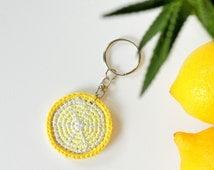 Lemon keychain, Crochet keychain, Amigurumi keychain funny, Cute keychain, Fake food keychain, Crochet key chains for girls, Cool keychains
