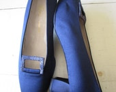 Blue Satin & Snake - Womens Shoes - Vintage - Pumps -  Leather - Italian - Size 39.5 Euro - 9.5 US - Lady Continental - Dead Stock - Gala