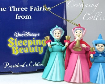 Grolier The Three Fairies Ornament from Sleeping Beauty Disney Scholastic Christmas Merryweather Fauna Flora