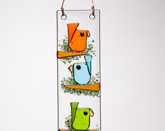 Trio Birds in Orange Aqua and Green Handmade Fused Glass Suncatcher Ornament