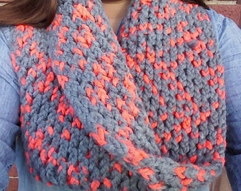 Handmade Infinity Scarf. Super Chunky Grey & Neon Orange