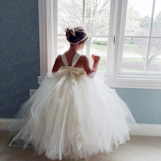 Ivory Flower Girl Dress Tulle Dress Wedding By