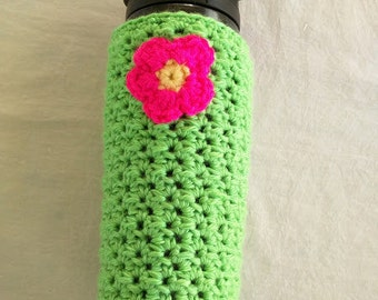 Crochet Water Bottle Coz with Flower
