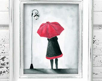 Girl with Red Umbrella - Original Watercolor Painting