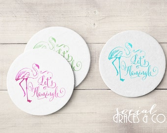 Lets Flamingo Coasters | Personalized Barware | Cocktail Coasters | Custom Foil Coasters | Drink Coasters | Letterpress Foil Party Favors