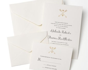 Arrow & Heart Gold Foil Letterpress Invitation Suite // Invitation, RSVP and Envelopes