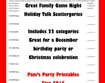 Christmas Scattergories- Printable Game -  Christmas Family Game -  Classroom Party Game  -  Instant Download