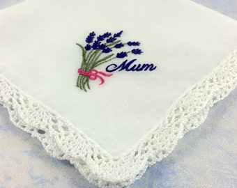 Gorgeous Lace Edged Cotton Handkerchief, Hanky with an Embroidered Lavender and with the word Mum