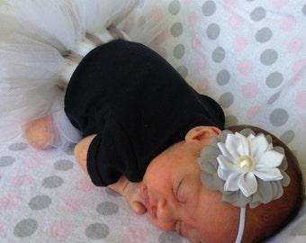 Newborn tutu set, Preemie tutu set, 0-3 Month Tutu set, Grey and white tutu set, baby shower gift, photo prop