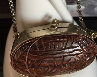 Small Vintage Primitive Carved Wood & Silver Purse