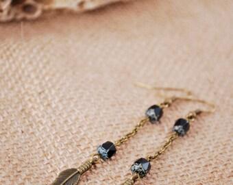 Long chain earrings, Hippie beaded earrings, black beads jewelry, boho feather bronze tone earrings, unique earrings
