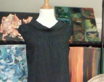 Vintage Shift Dress in Navy Pinstripes size M
