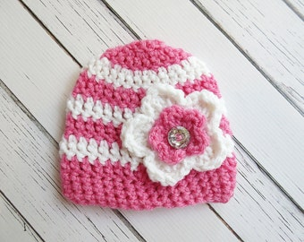 Flower Crochet Hat, Crochet Rhinestone Flower Hat