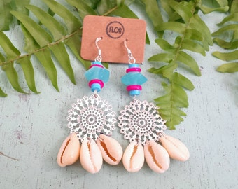 Gypsy beach earrings - Filigree earrings with cowry shells and pink and turquoise beads