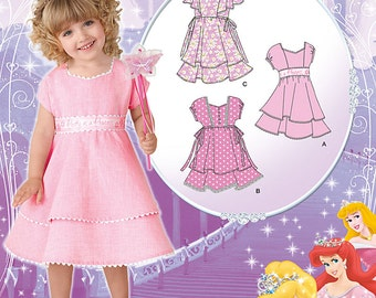 Simplicity 1922 Disney Princess Dress pattern, with bodice and trim variations. Size 1/2 - 4. New and Uncut
