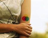 Colour wheel temporary tattoo - Ink, Teacher, Art Student, Blue, Yellow, Pink, Colourful, Tattoo, Artist, Accessories - NO. E07