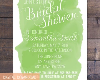 Green Watercolor Bridal Shower Invitation