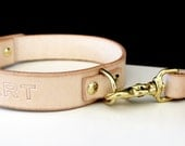 Leather Dog Collar and Leash Personalized
