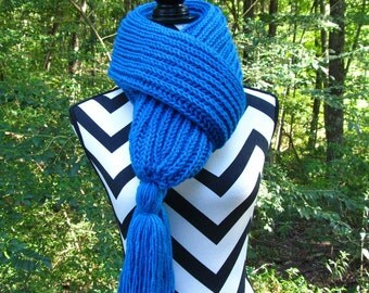 READY to SHIP *** Hand Knit on Needles-Long Winter Scarf-Pool (Aqua Blue)