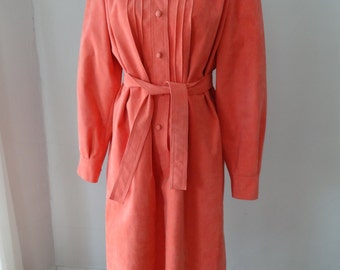 Vintage early 70s sz Large Nat Kaplan Couture belted faux suede coral dress from Naivette Shoppe Norfolk Virginia Beach