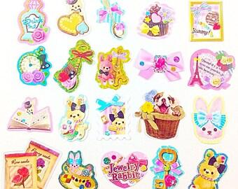 20 different Kawaii sticker flakes Cute stickers Cute stationery Cute pink stickers Kawaii sticker lot Rabbit stickers Cute bunny stickers