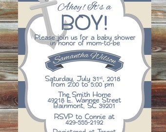 Nautical Theme Boy Baby Shower Invitation - Personalized Baby Shower Invite - Ahoy It's a Boy Baby Shower Invite - Anchor Baby Shower Invite
