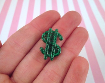 Green Glitter Resin Dollar Sign Cabochon Money Sign, #868