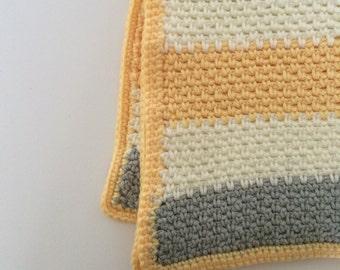 Striped Baby Blanket - Yellow/Grey/White