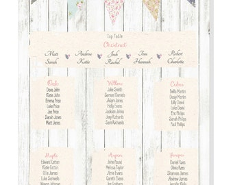 Rustic Country Bunting Table Plan