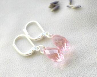 Briolette Swarovski Earrings, Small Pink Swarovski Earrings, Swarovski Crystal Earrings, Light Rose Swarovski Earrings, Swarovski Jewelry