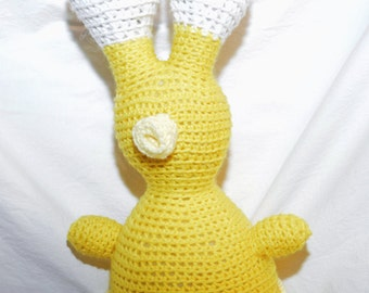 crochet stuffed animial alien yellow and white