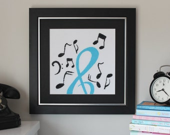 Cross Stitch Pattern, Modern Cross Stitch Pattern - Musical Notes - PDF Instant Download