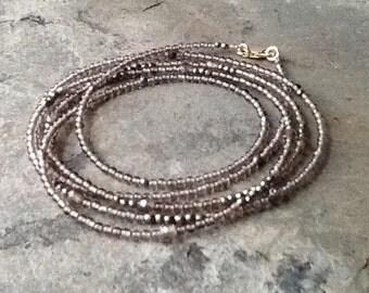 Smoky Quartz and Pyrite Long Necklace or Wrap Bracelet