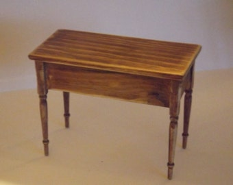dollhouse miniature country pine table, handmade from real pinewood 1/12 scale, a country treasure