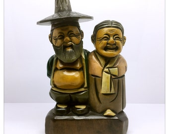 Wooden Korean Grandparents Figurines