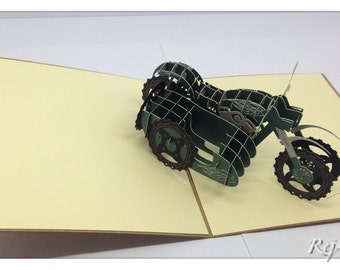 3D Pop Up Sidecar Motorcycle Card