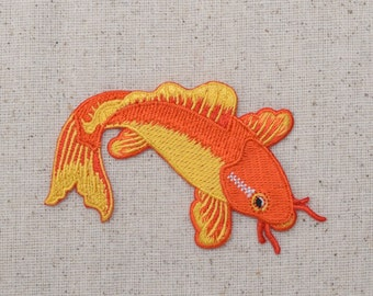 Koi Fish - Orange and Yellow - Iron on Applique - Embroidered Patch - 696970-A
