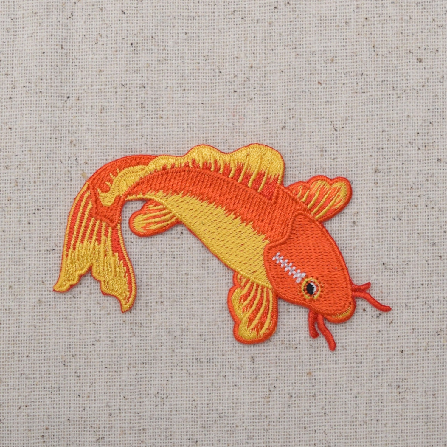Koi fish orange and yellow iron on applique embroidered for Orange coy fish